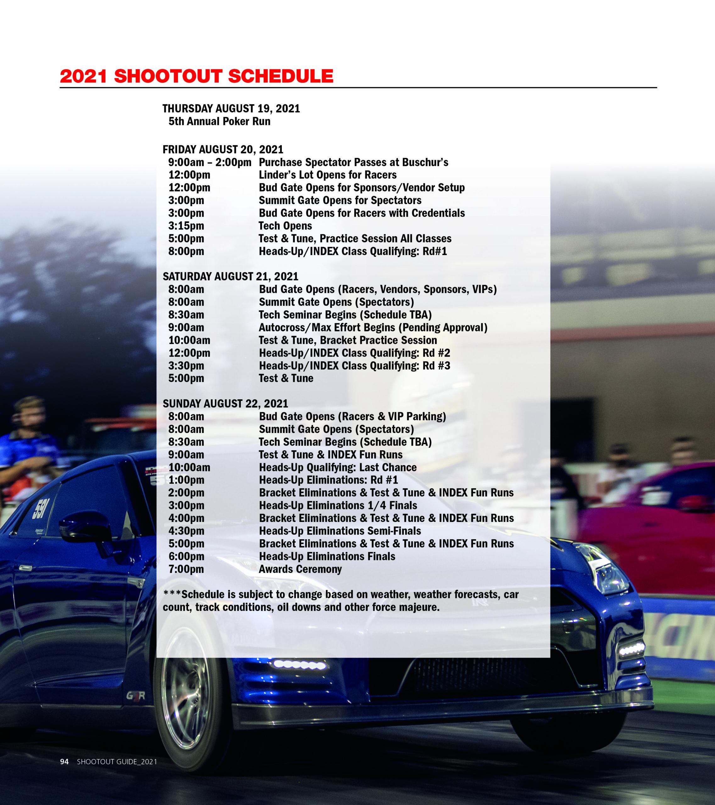 2021 shootout schedule